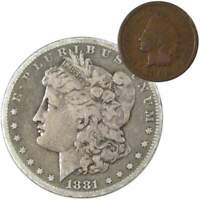 1881 S Morgan Dollar F Fine 90% Silver Coin with 1902 Indian Head Cent G Good