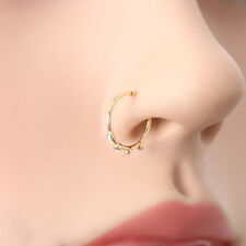 Gold Crystal Rhinestone Stainless Steel Nose Ring Body Piercing Stud Jewelry NEW