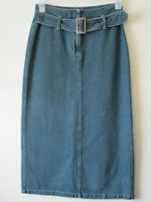 MIDI MAXI DENIM SKIRT STRAIGHT Faded Blue Belt Boho FESTIVAL Brooker  Sz  10
