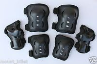Roller Blading Wrist Elbow Knee Pads Blades Guard 6 PCS Set Size large in BLACK
