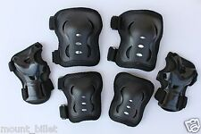 Roller Blading Wrist Elbow Knee Pads Blades Guard 6 PCS Set for Youth in BLACK