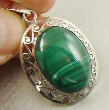 Semi-Precious GREEN MALACHITE Gemstone 925 Sterling Silver Pendant - C33