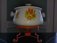 Vtg Retro Floral Bean Pot Warmer Orange Stand Flower Tulip Green Yellow Fondue