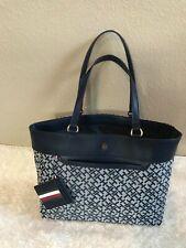 Tommy Hilfiger Large Tote Bag Blue Handbag Monogram With Pouch MSRP $108