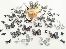48 Edible Black/White Heaven Heart Detail Butterflies PreCut Wafer cake Toppers