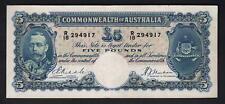 Australia R-44b. (1933)  Five Pounds - Riddle/Sheehan.. KGV Portrait.. aVF