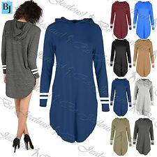 Womens Plain Full Striped Sleeves Baggy Shirt Ladies Oversized Mini Dress Top