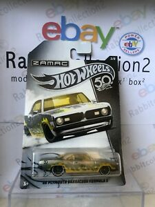 "Die Cast "" '68 Plymouth barracuda Formula 5 "" Hotwheels Zamac 50th Anniversary"