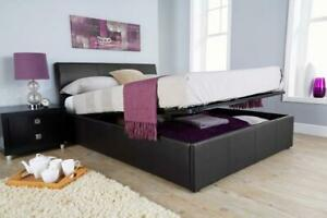 Ottoman Double Bed 4ft 6 Black Faux Leather Gas Lift Sprung Slats Storage