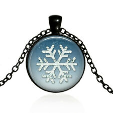 Snowflake with Music Notes Pendant,Glass Dome Chain Necklace wholesale black