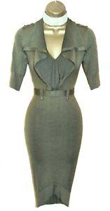 KAREN MILLEN MILITARY OLIVE KHAKI GREEN BODYCON STRETCH DRESS UK 8