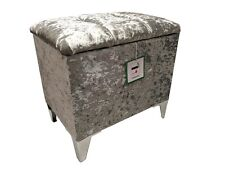 DRESSING TABLE STOOL / STORAGE IN A QUALITY SILVER VELVET WITH CHROME LEGS