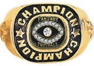FANTASY FOOTBALL CHAMPION 24K GOLD TROPHY RING 19 STONES 7 8 9 10 11 12 13 14 15