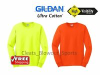 Gildan Safety Green Orange Long Sleeve T-Shirt Work HIGH VIS ANSI Bright 2400