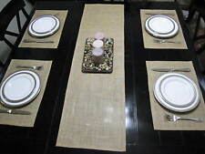 Burlap Table Runner and 4 Placemats Natural Jute Country Rustic Decor Handmade