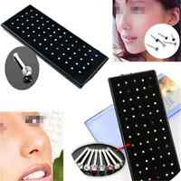 24/60PCS Lots Crystal Nose Ring Bone Stud Stainless Steel Body Piercing Jewelry