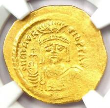 Byzantine Maurice Tiberius AV Solidus Gold Coin 582-602 AD - Certified NGC AU