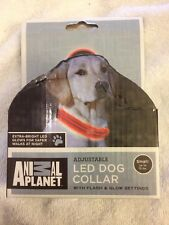 Animal Planet LED Light Up Dog Collar Red Adjustable SZ S Up To 15lbs Flash Glow