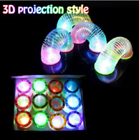 Rainbow Spring Toy Slinky Magical Circle Stretchy Coil Glow in Dark Walking
