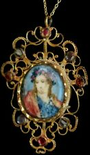 Antique 1800 GEORGIAN HAND PAINTED Religious Portrait JEWELED Filigree Necklace