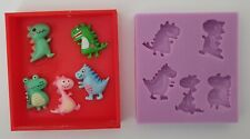 MINIATURE DINOSAURS SILICONE MOULD FOR CAKE TOPPERS, RESIN, CHOCOLATE ETC