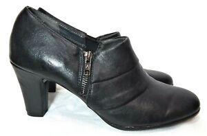 Aerosoles Women's Booties Black Faux Leather 11 M Side Zip Bootie High Heel