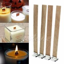 10Pcs 8mm x 90mm Candle Wood Wick with Sustainer Tab Candle Making Supply b49