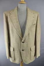 VINTAGE 1970's QUEST PURE WOOL BROWN HERRINGBONE PATTERNED TWEED JACKET 42 INCH