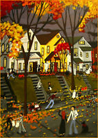 Halloween Trick Or Treat black cat dog witch Giclee ACEO print folk art Criswell