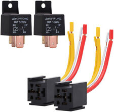 2 PCS DC 12V 80A Car Relay 4Pin Normally Open SPST with Relay Socket Plug 4 Wire