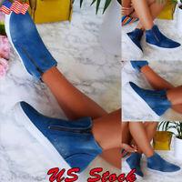 Women Denim Canvas Zip Loafers Pumps Ladies Slip On Flat Trainers Sneakers Shoes