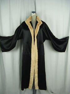 Jeanne Paquin 1931 Negro Satén Seda Noche Abrigo Con / Conejo Fur-Bust 40/M