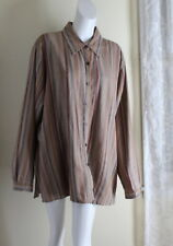 Coldwater Creek 2X French Natural Stripe Artsy Linen Fun Lagenlook Tunic Shirt