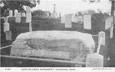 Lanesboro Massachusetts Josh Billings Monument Graveyard Antique Postcard K62411