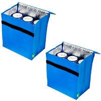 2er Set Mini Kühltasche Isoliert Blau | Thermotasche Camping Picknicktasche