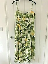 H&M Linen Blend Lemon Print Spagheti Strap Summer Fit & Flare Midi Dress size 10