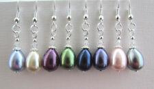 Dainty Teardrop Pearl/Swarovski Elements Drop/Dangle Pierced Earrings 8 Colours