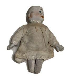 "Vintage Three Face Porcelain Doll Dress 5"" Creepy Scary Dirty"