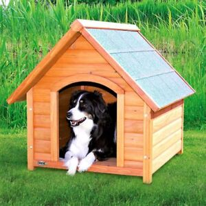 Wooden Dog Kennel With Weatherproof Pitched Roof Garden Home Stained Pine Tall