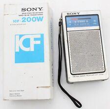 Sony ICF-200W FM/AM  2 Band Receiver Radio Silver with Box