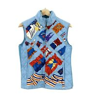J.McLaughlin Womens Zip Up Vest Silk Size Small S Blue Flags Jacket Quilted N2