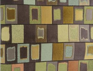 Vintage MCM Upholstery Fabric Brown Geometric Atomic Ranch Squares .75 yds