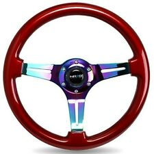NRG 350MM STEERING WHEEL RED Classic Wood Grain & Neo Chrome 3-SPOKE Center
