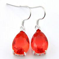 Woman Birthday Jewelry Gift Fire Red Garnet Gemstone Silver Dangle Hook Earrings