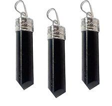 Black Tourmaline Stone 3 Sided Pencil Pendant Gemstone Reiki Spiritual Healing