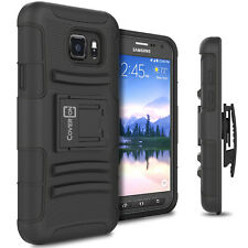 For Samsung Galaxy S7 Active Belt Clip Case Black Holster Hybrid Phone Cover