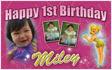 """Tinkerbell - 21""""x36"""" Birthday Banner customize add child's name/age/pics"""