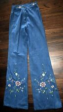 Vintage Long Tall embroidered High waist Bell Bottoms Jeans Hipster Boho Xs/0 Nw