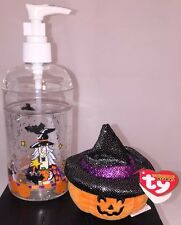 TY Halloweenie Beanie Baby SCREAM Pumpkin & Halloween Dispenser, New
