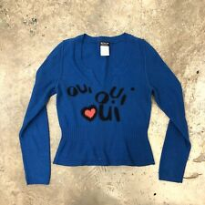 Sonia Rykiel Top Sweater Oui Oui Blue Peplum Thin Knit Cotton Heart France S